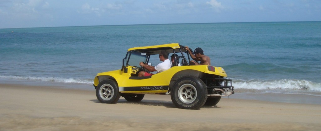Tourist driven buggy speeding towards Canoa Quebrada!