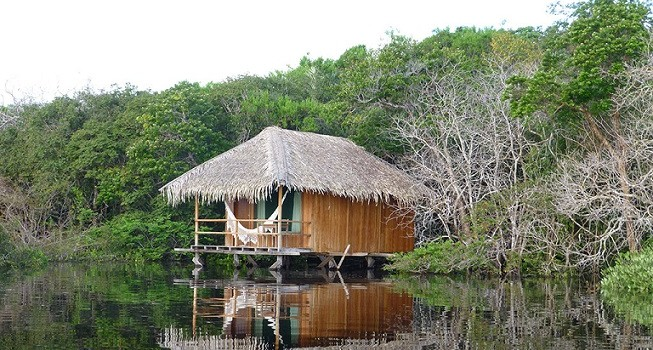 View of the Juma lodge, a lodge on stilts in the Amazon.