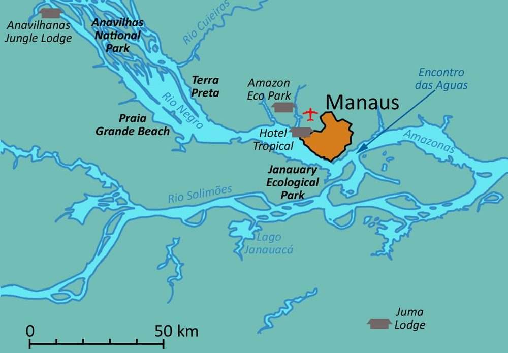 Amazon Manaus and lodges map