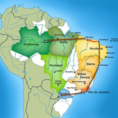 Map of Brazil highlighting Brazil selection grand tour.