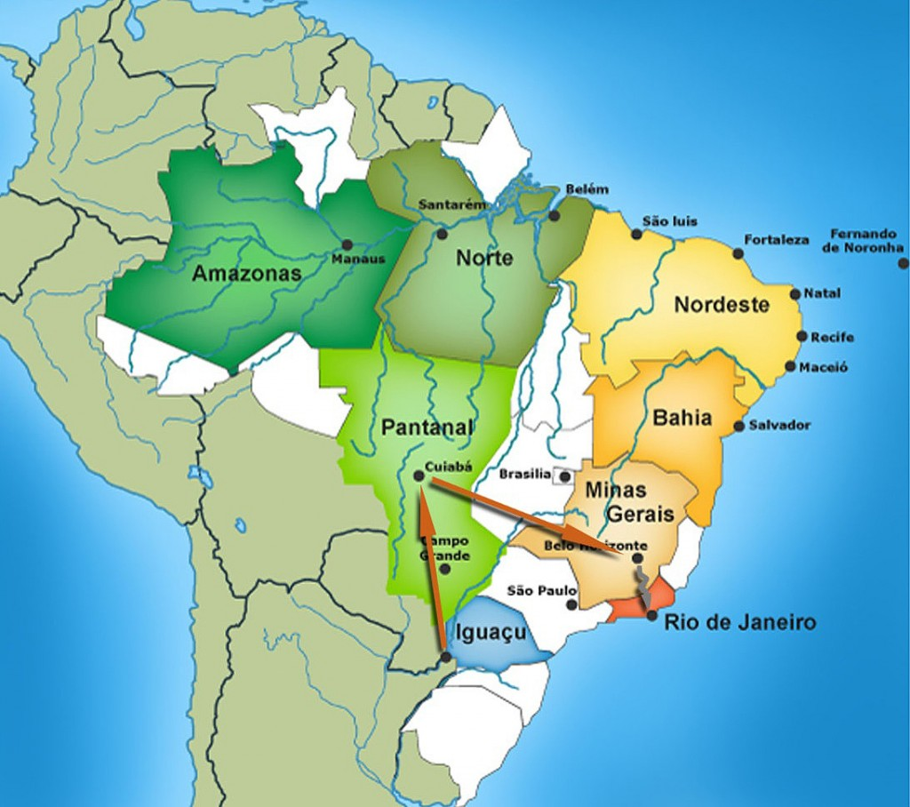 Map of the tour of southern Brazil.