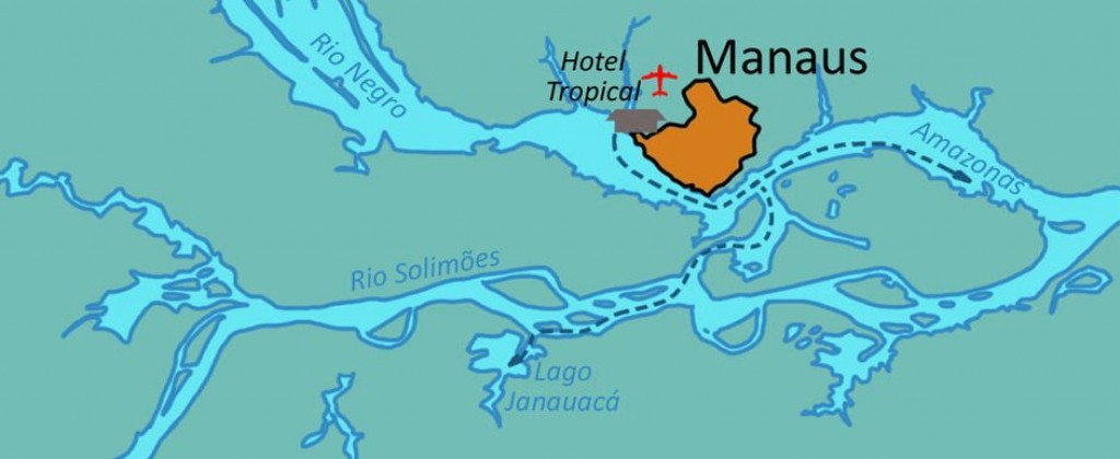 Map showing Manaus in relation to the Amazon river.
