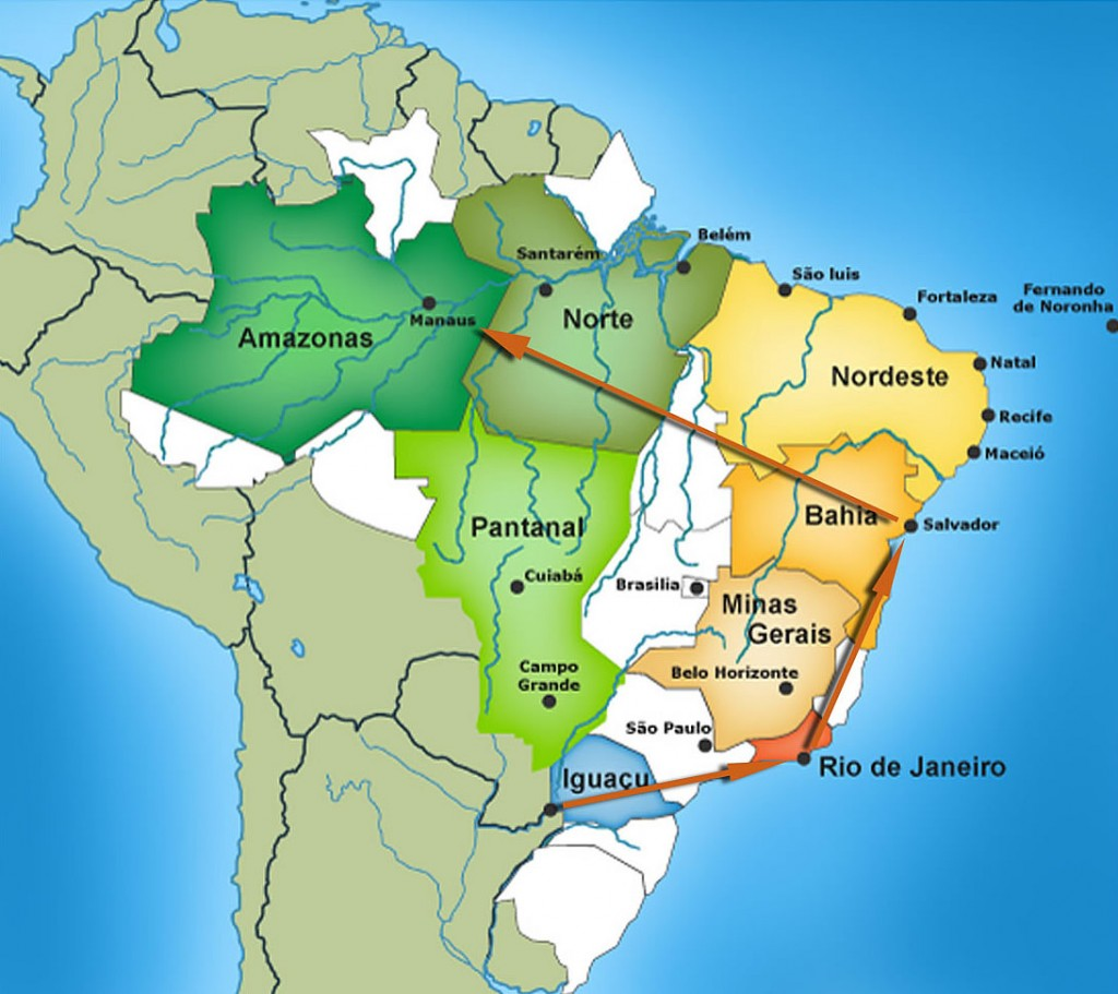 All inclusive vacation Brazil - map of all the stops.