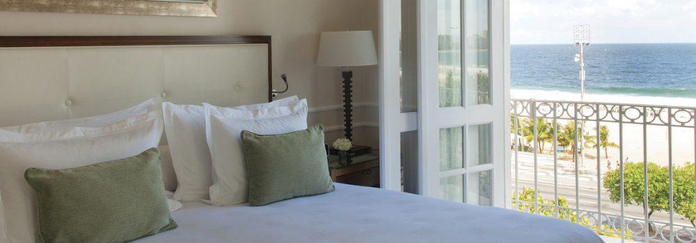 Room at Copacabana palace overlooking the ocean.