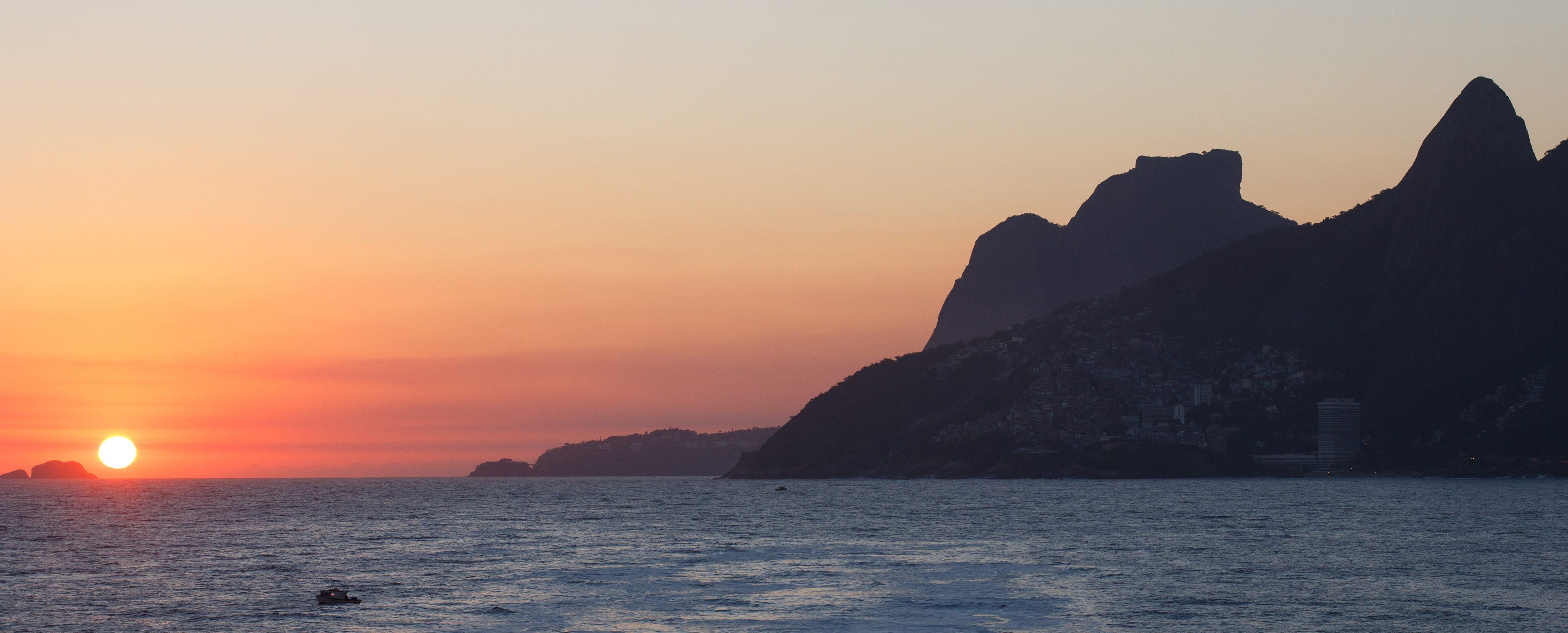 Sunset at Ipanema beach in Rio de Janeiro.