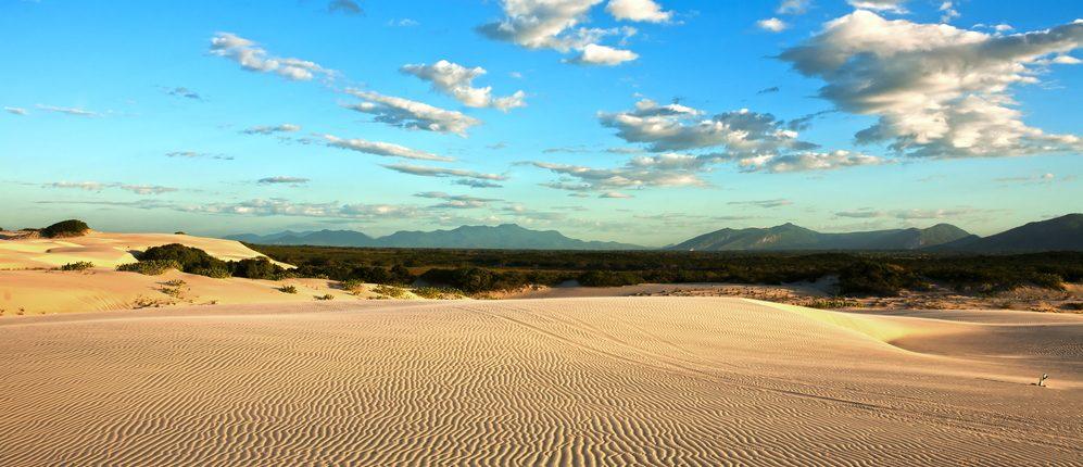 Beautiful panoramic view of beach and dunes in Brazil.