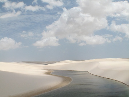 A clear rainwater lagoon in the desert of Lnçois near Maranhao inj Brazil.