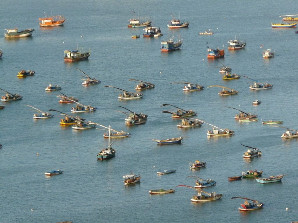 Aerial shot of the many jangadas off the coast of Fortaleza.
