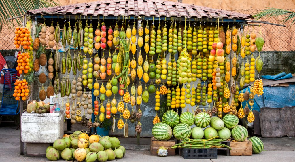 One of the many stalls in Manaus selling fresh fruit.