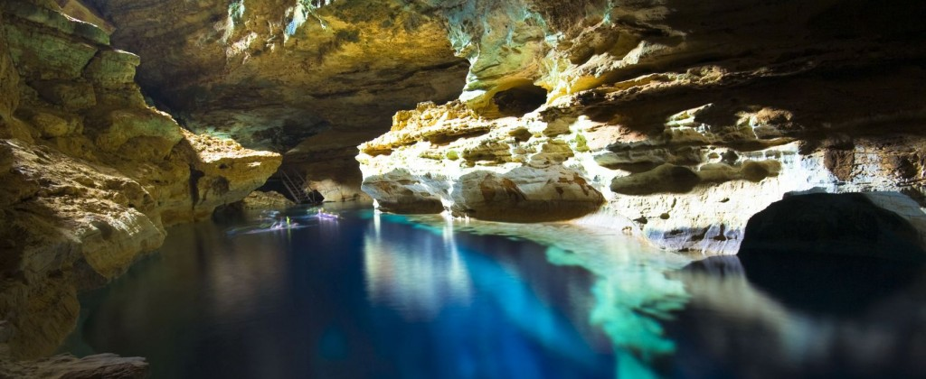 A glowing blue cave in Chapada Diamantina.