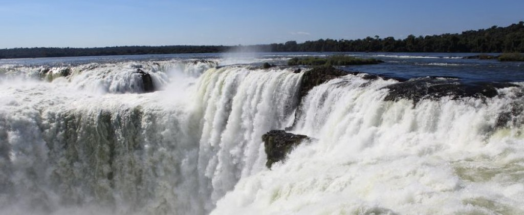An aerial shot of the devils throat, part of Iguaçu waterfalls.