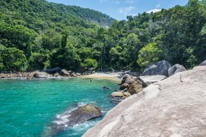 A beautiful rocky beach at Ilha Grande.