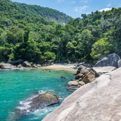 One of the rocky beaches of Ilha Grande.