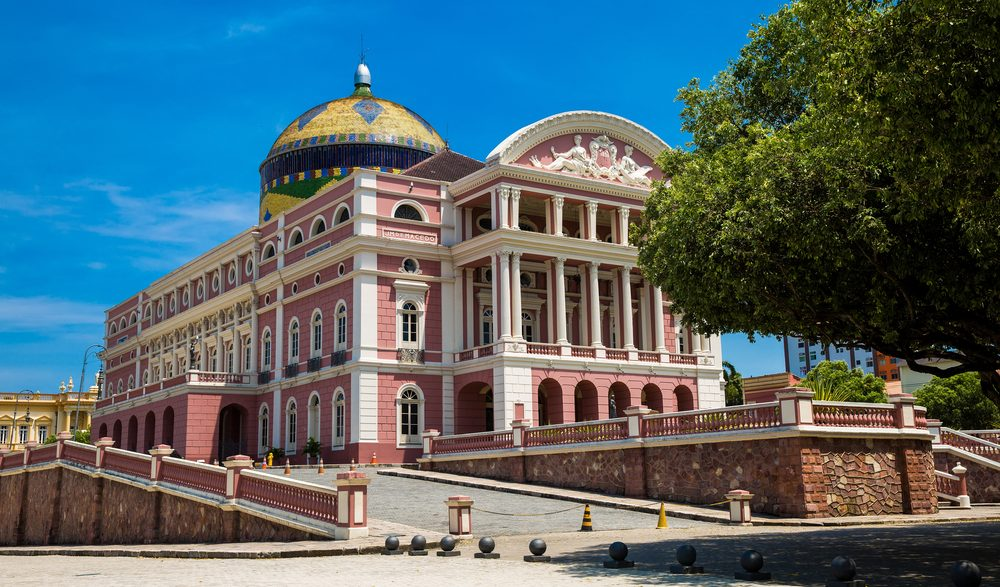 Manaus theatre, a beautiful pink building in Manaus.