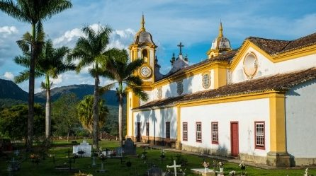 Coulourful church in Tiradentes.