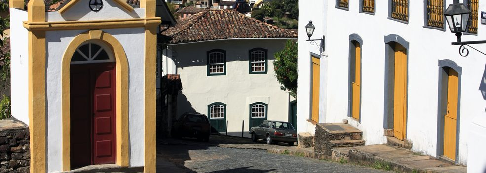 Houses line the cobbled streets of Ouro Preto.