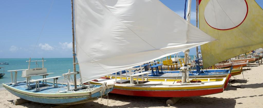Jangadas on the beach in Nordeste.