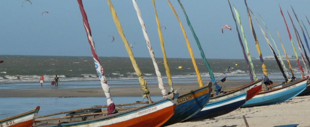 Jangadas lined up on the beach in Brazil.