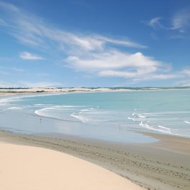 A deserted beach in Jericoacoara.