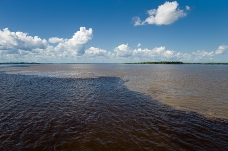 The meeting of the waters of Rio Negro and Rio Solimoes in Amazonia.