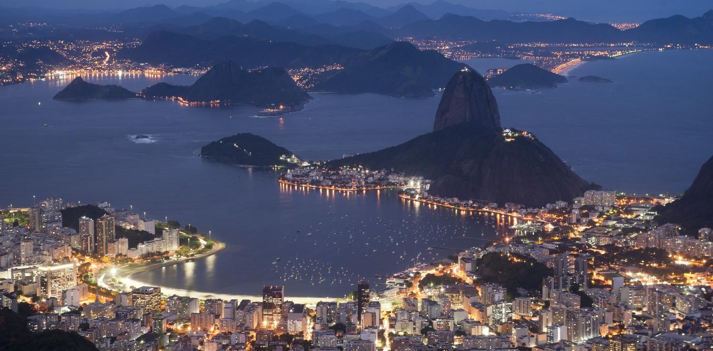 Rio de Janeiro district of Botafogo at night