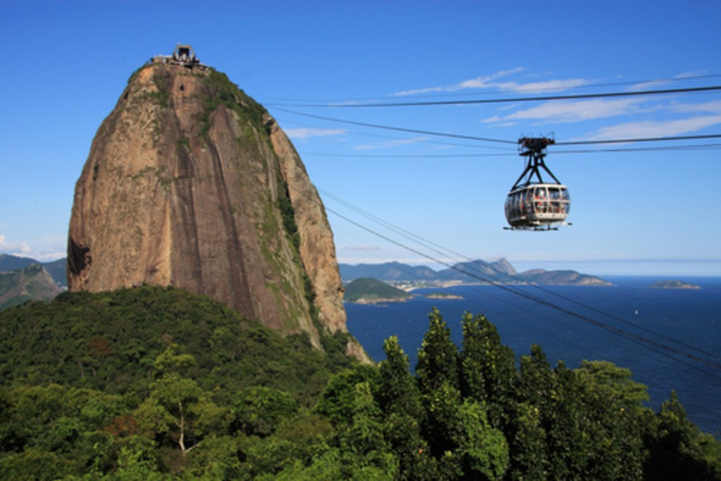 Cable car going to Pao de Acucar or sugarloaf mountain in English