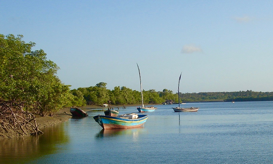 Rio preguicas at dusk, fishingboats line its banks.