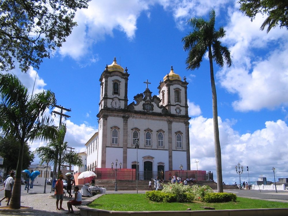Church in Salvador de Bahia Brazil against a blue - sky background.