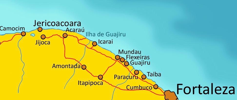 map Fortaleza-Jericoacoara
