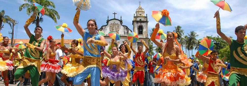 Frevo dancers at Recife and Olinda carnival.