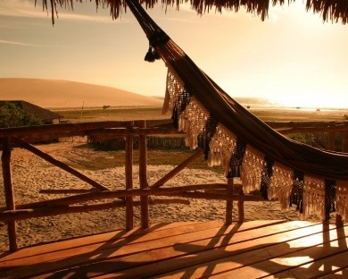 A hammock in the sunset, in Jericoacoara.