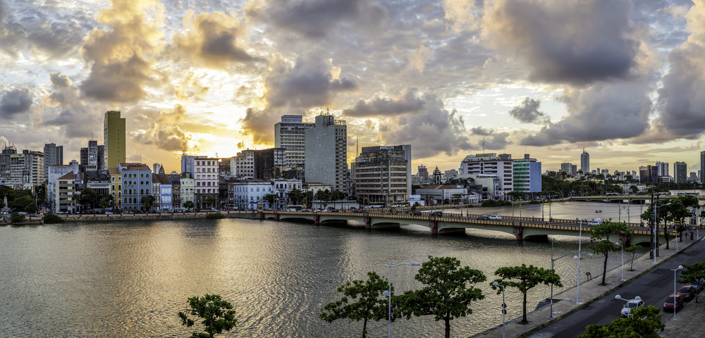 The sunsets over the river in Recife.