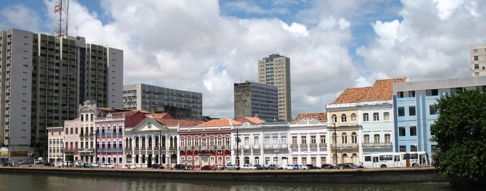 Historical buildings at the waters edge in Recife.