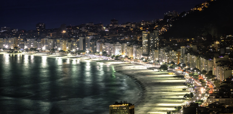 Rio de Janeiro Copacabana beach at night