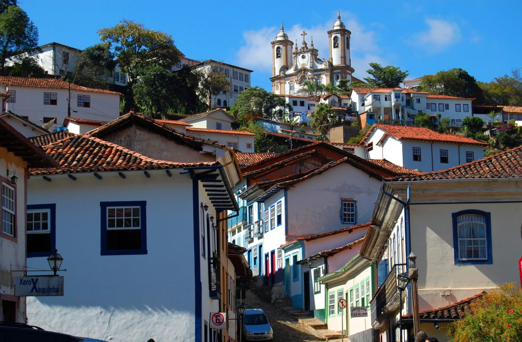 View of the winding and climbing cobbled streets of Mariana.