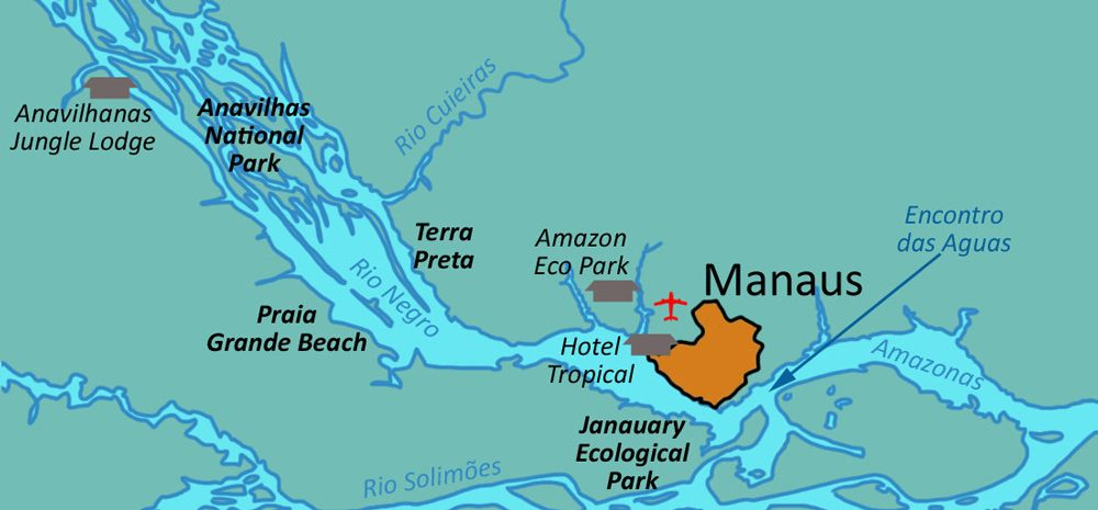 Map showing the location of each jungle lodge in relation to Manaus and the Amazon river.