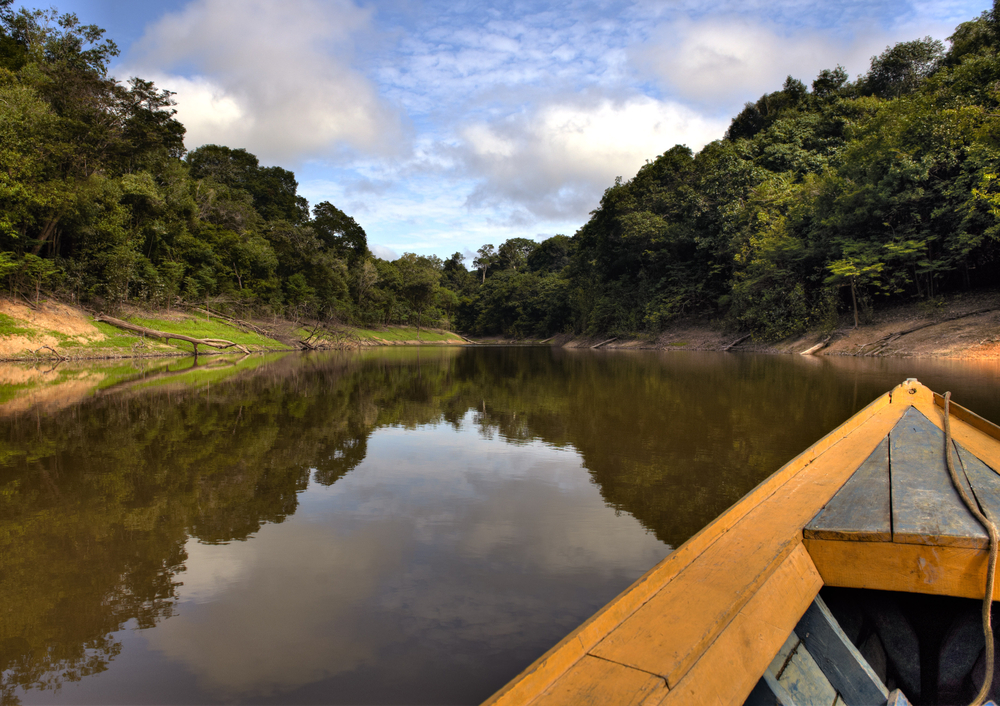 A small canoe about to head up one of the Amazon tributaries.