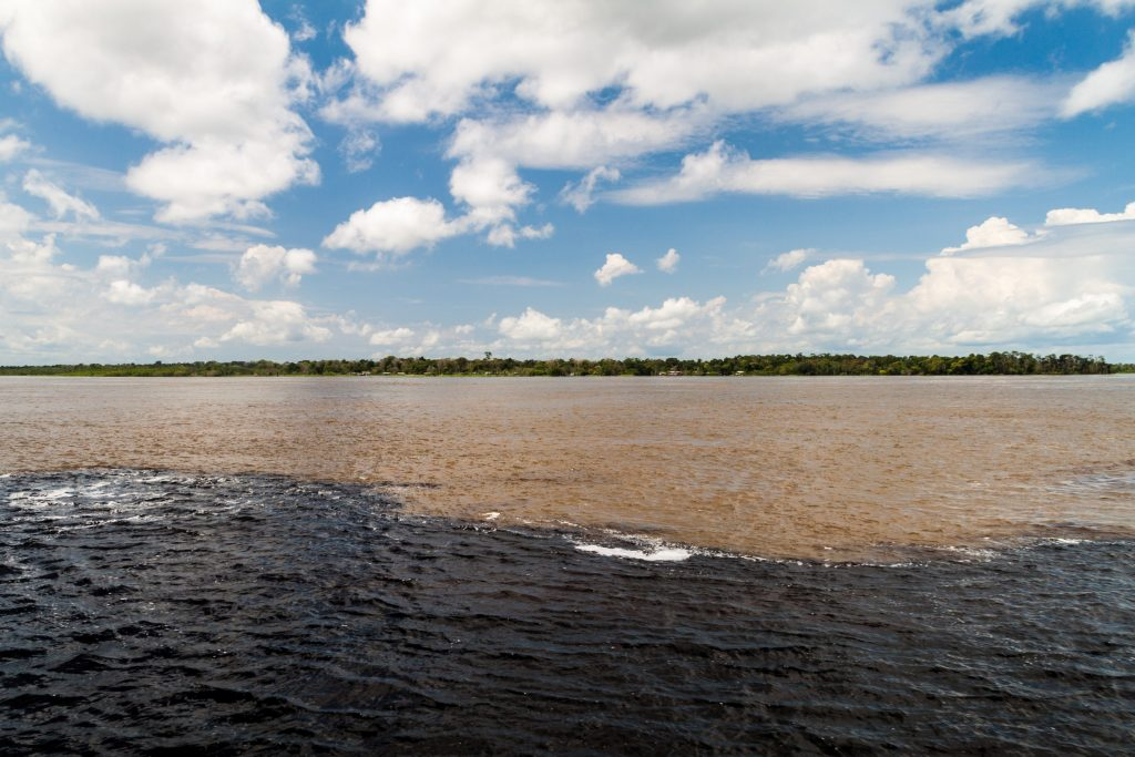 "The ""encounter of the waters"" of the Rio Negro and the Rio Solimoes."