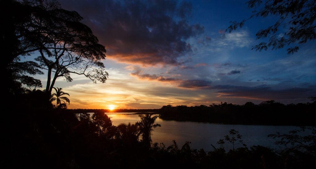 Sunset over the Amazon river, something to really look forward to on your Rio Negro cruise!