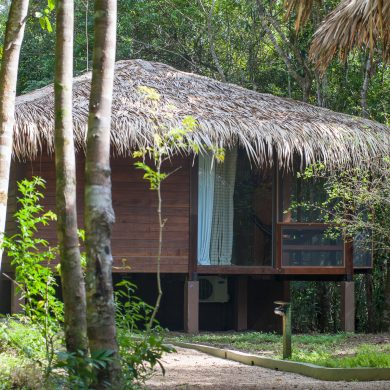 A bungalow in the Amazon, belonging to one of our exclusive partner lodges.