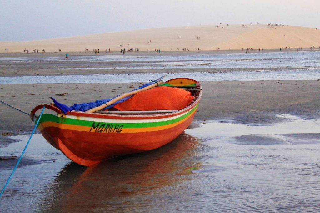 Close up of a beached boat in Jericoacoara.