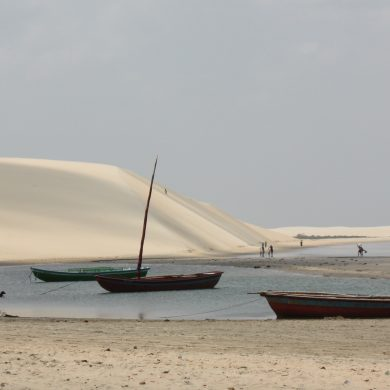 Jangadas on the beach at low tide in Nordeste.