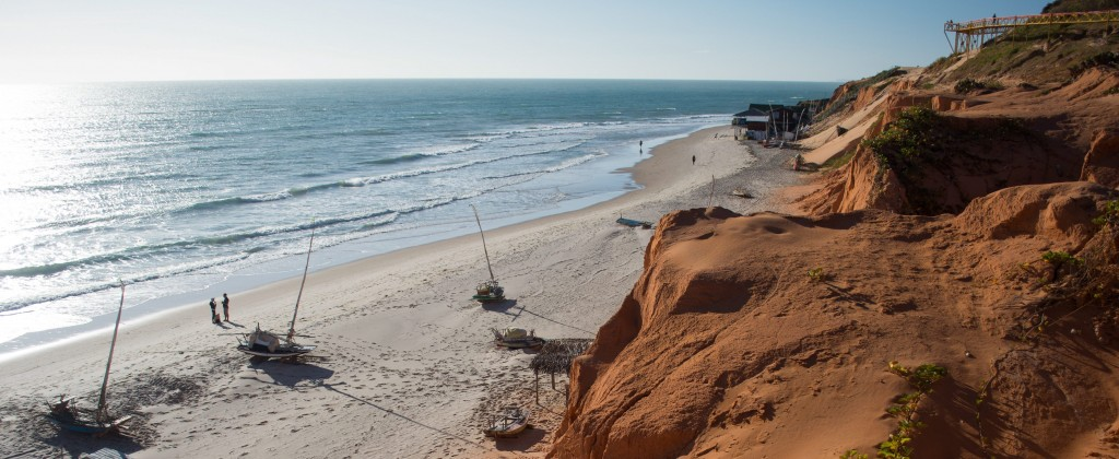 Canoa Quebrada beach from atop the ocher cliffs.