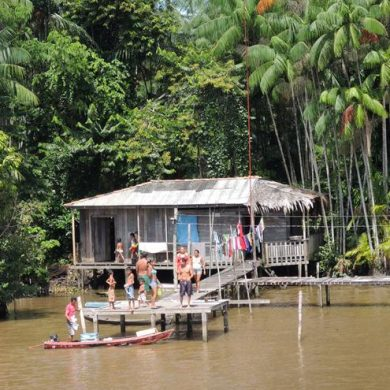 A family living at the edge of one of the Amazon's igarapés.