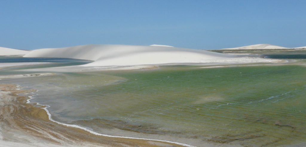 One of the huge lagoons among the dunes in Jericoacoara.