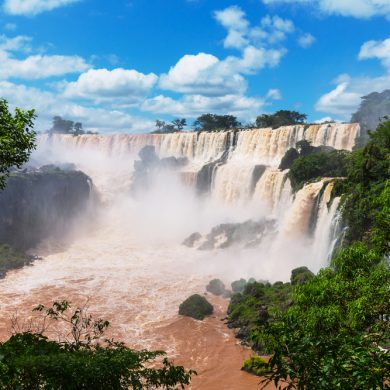 The gushing waters of the mighty Falls of Iguaçu in Brazil.