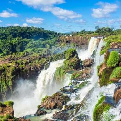 The beautiful scenery at the falls of Iguaçu.