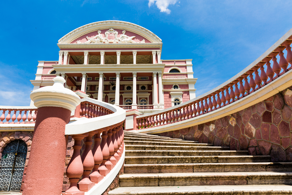 Looking up the stairs of one of the historical buildings of Manaus.