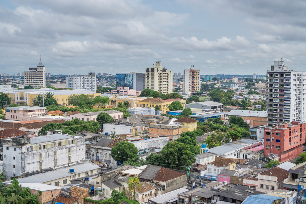 View accross the city of Manaus with its tree lined streets.