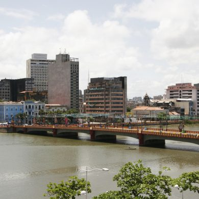View of the bridge over the river in Recife.